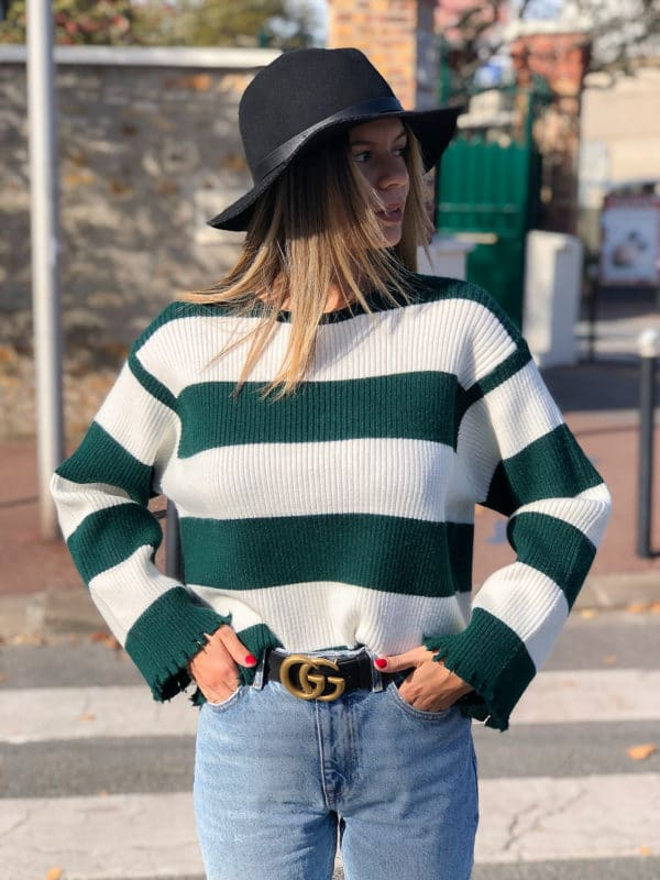 pull-cotelle-à-rayures-vert